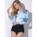 cheap Fashionable Round Collar Long Sleeve Floral Print Spliced Women's Swimwear