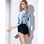 Fashionable Round Collar Long Sleeve Floral Print Spliced Women's Swimwear deal