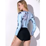 Fashionable Round Collar Long Sleeve Floral Print Spliced Women's Swimwear for sale