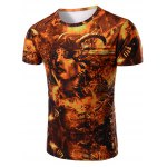 Vogue Round Neck 3D Beauty Print Short Sleeves T-Shirt For Men