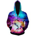 cheap Casual Zip 3D Starry Sky Printed Hoodie For Men