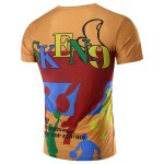 cheap Round Neck Letter and Cartoon 3D Print Pattern Short Sleeve T-Shirt For Men