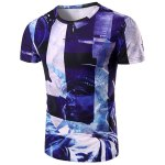 Round Neck Statue 3D Print Pattern Short Sleeve T-Shirt For Men