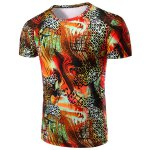 Round Neck Geometric Abstract 3D Print Pattern Short Sleeve T-Shirt For Men