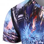 Round Neck Skull Abstract 3D Print Pattern Short Sleeve T-Shirt For Men deal
