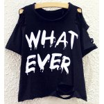 WHAT EVER Print Round Neck Batwing Sleeve Women T-shirt