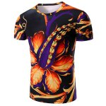 Round Neck Floral 3D Print Short Sleeve T-Shirt For Men