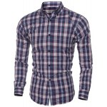 cheap Casual Turn Down Collar Plaid Printing Shirt For Men