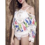 Fashionable Scoop Neck Crochet Cover-Up Top For Women