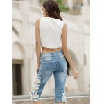 Fashionable Pocket Design Lace Spliced Cut Out Women's Cropped Pants for sale