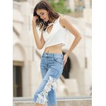 Fashionable Pocket Design Lace Spliced Cut Out Women's Cropped Pants deal