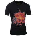 Slimming Stylish Round Neck 3D Flower Print Short Sleeve T-Shirt For Men