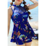 cheap Sweet Style Stand-Up Collar Floral Print See-Through Criss-Cross Swimsuit For Women