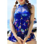 Sweet Style Stand-Up Collar Floral Print See-Through Criss-Cross Swimsuit For Women