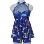 Sweet Style Stand-Up Collar Floral Print See-Through Criss-Cross Swimsuit For Women deal