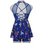 best Sweet Style Stand-Up Collar Floral Print See-Through Criss-Cross Swimsuit For Women