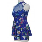 Sweet Style Stand-Up Collar Floral Print See-Through Criss-Cross Swimsuit For Women for sale