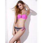 Graceful Spaghetti Strap Push Up Side-Tie Printed Bikini Set For Women deal