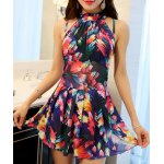 Elegant Stand Collar Floral Print Underwire Swimsuit For Women