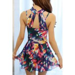Elegant Stand Collar Floral Print Underwire Swimsuit For Women deal