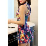cheap Elegant Stand Collar Floral Print Underwire Swimsuit For Women