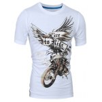 cheap Stylish Round Neck 3D Eagle Print Short Sleeve T-Shirt For Men