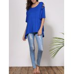 best Fashionable Scoop Neck Cut Out Solid Color Short Sleeve T-Shirt For Women