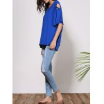 Fashionable Scoop Neck Cut Out Solid Color Short Sleeve T-Shirt For Women photo