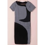 Stylish Scoop Neck Short Sleeve Plaid Bodycon Dress For Women