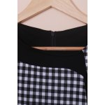 Stylish Scoop Neck Short Sleeve Plaid Bodycon Dress For Women photo