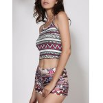 best Halter Geometric Print Crop Top