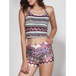 Halter Geometric Print Crop Top photo