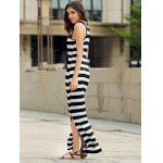 Sexy Scoop Collar Sleeveless Striped Women's Sundress for sale