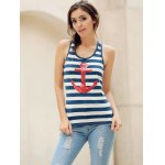 cheap Trendy Scoop Neck Striped Sequined Anchor Tank Top For Women
