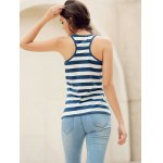 Trendy Scoop Neck Striped Sequined Anchor Tank Top For Women deal