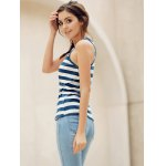 Trendy Scoop Neck Striped Sequined Anchor Tank Top For Women for sale