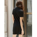 Preppy Style Lace-Up Short Sleeve Black Dress For Women deal