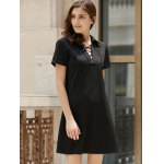 cheap Preppy Style Lace-Up Short Sleeve Black Dress For Women