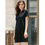 Preppy Style Lace-Up Short Sleeve Black Dress For Women for sale