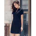 best Preppy Style Lace-Up Short Sleeve Black Dress For Women
