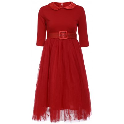 Peter Pan Collar Long Sleeve A-Line Red Voile Spliced Dress