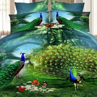 3D Peacocks Oil Painting Pattern Duvet Cover 4 PCS Bedding(Without Comforter )