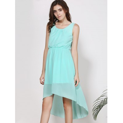 Elegant Scoop Neck Sleeveless Solid Color High-Low Chiffon Dress For Women