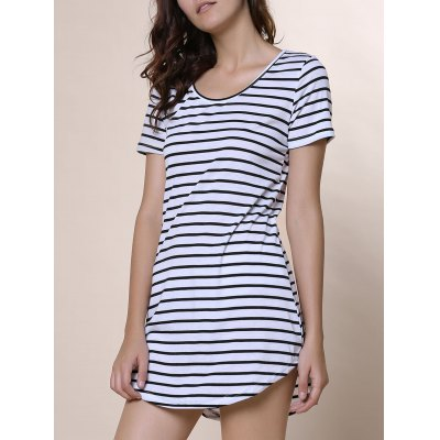 Summer Casual Striped Dress With Sleeves