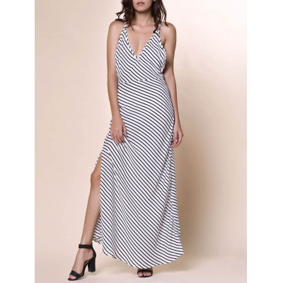 Plunging Neckline Striped Backless Dress For Women