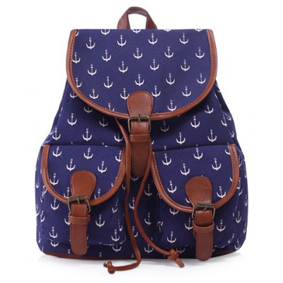 Casual Anchor Print and Buckle Design Satchel For Women