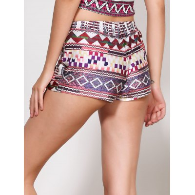 Vintage Multicolored Print Summer Shorts For Women