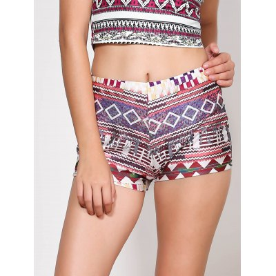Ethnic Style Multicolored Printed Elastic Waist Shorts For Women