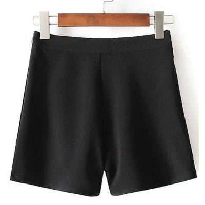 Zippered Solid Color Mini Shorts