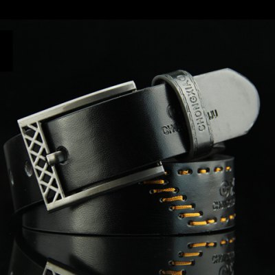 Sewing Thread Embellished Letter Pattern Pin Buckle PU Belt For Men